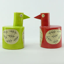 Load image into Gallery viewer, Lime green bird vase