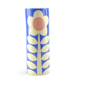 Blue flower tall cylinder vase