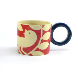 Dark red ava bird mug
