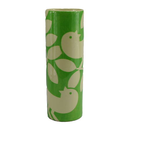 Green ava bird medium cylinder vase