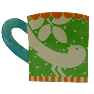 Green ava bird cup profile vase