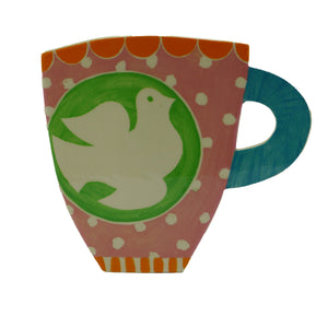 Green dove cup profile vase