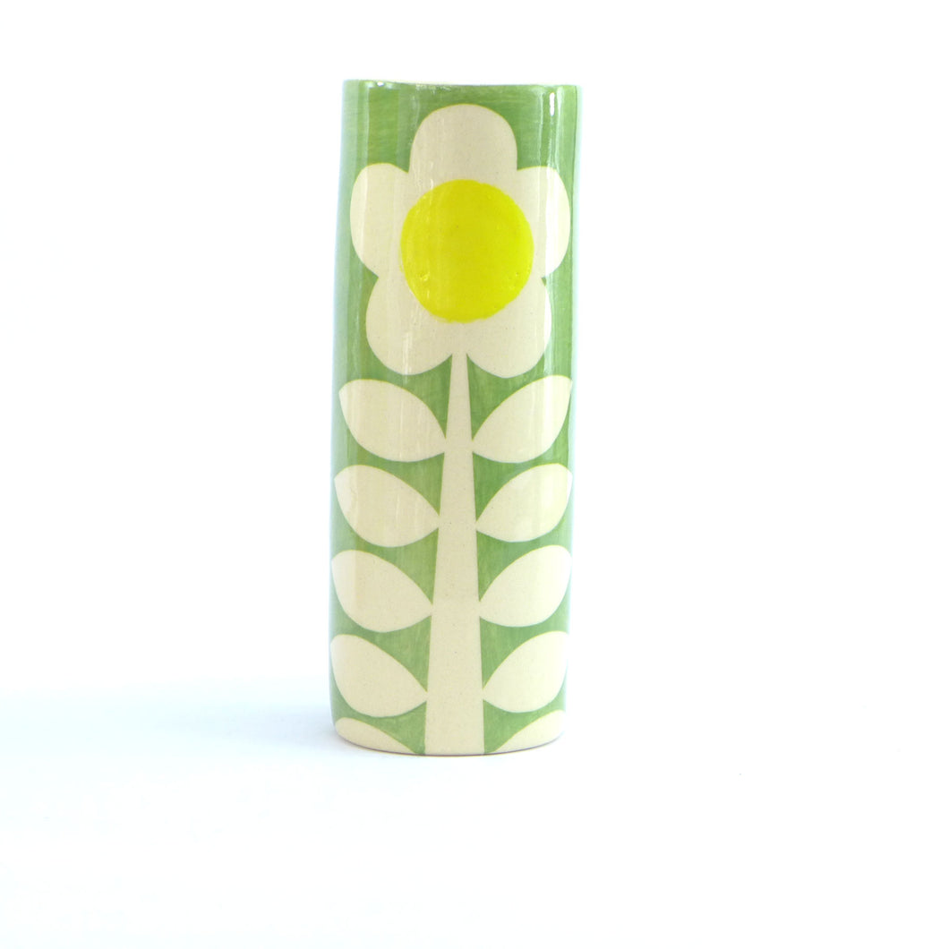 Green flower tall cylinder vase