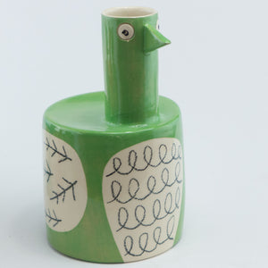 Green large bird vase