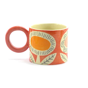 Red retro flower mug