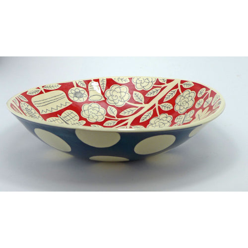 Teal and red large shallow bowl