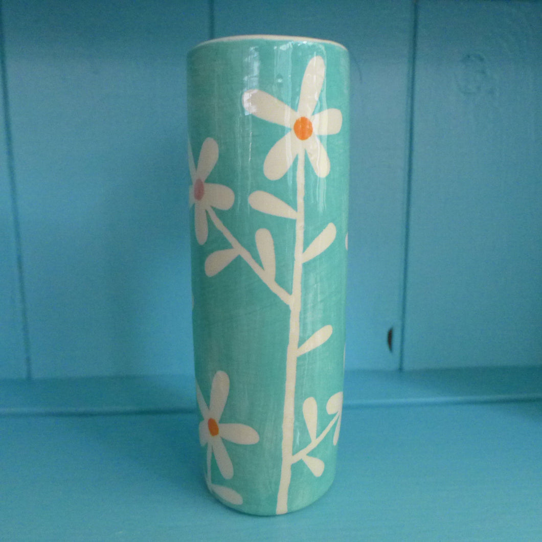 Turquoise daisy tall cylinder vase