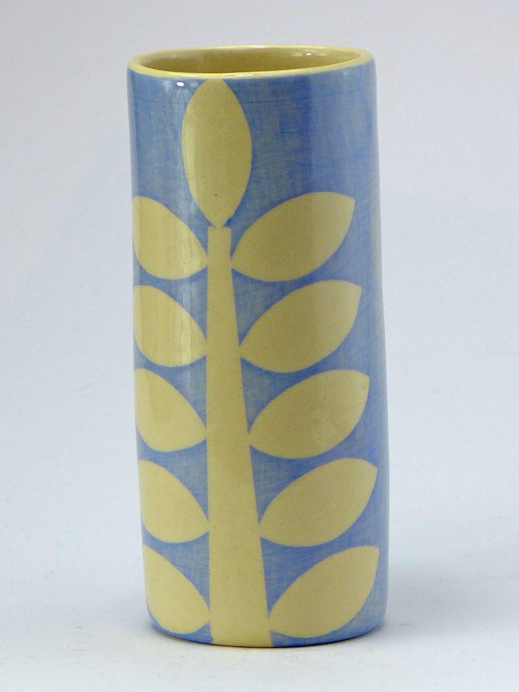 Pale blue stem cylinder vase