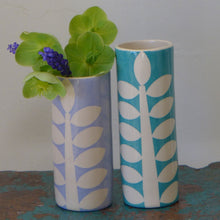 Load image into Gallery viewer, Pale blue stem cylinder vase