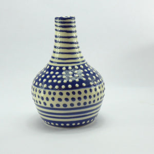 Spotty blue bottle vase