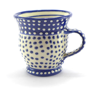 Blue curvy spotty mug