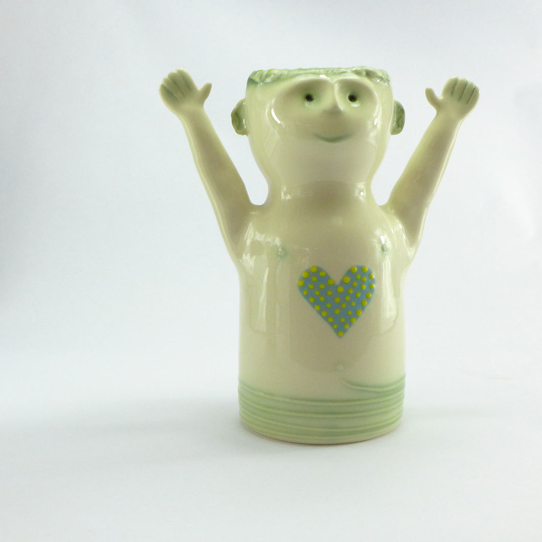 Aqua green happy person vase
