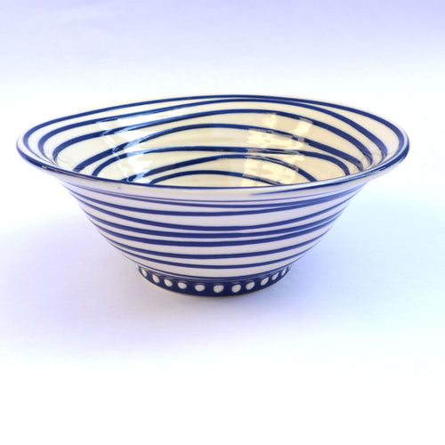 Blue swirl medium bowl
