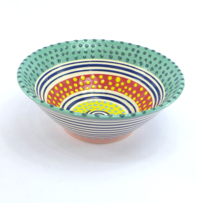 Turquoise edge spotty medium bowl
