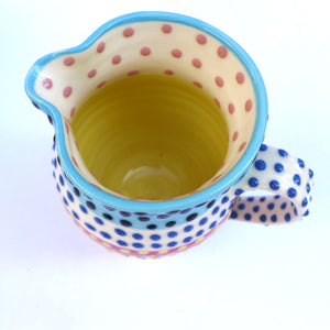 Spotty small jug turquoise edge