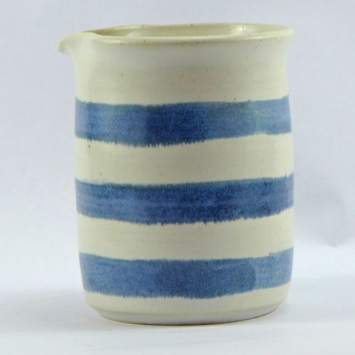 Blue and white medium jug horizontal stripe