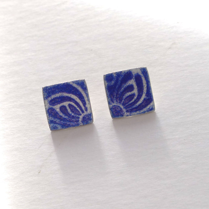 Blue enamelled earrings NP115
