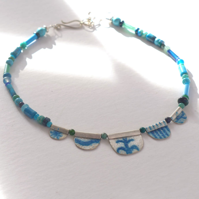 Teal enamelled silver and semi precious necklace NP117