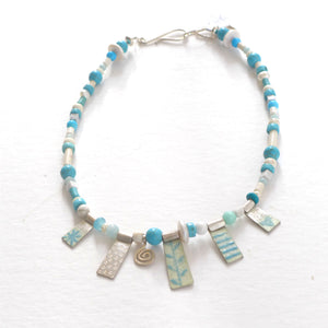 Turquoise enamelled silver and semi precious necklace NP119
