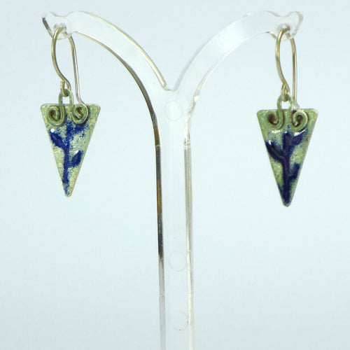 Dark blue leaf drop enamelled earrings NP11