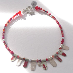 Red enamelled silver and semi precious necklace NP202