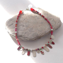 Load image into Gallery viewer, Red enamelled silver and semi precious necklace NP202