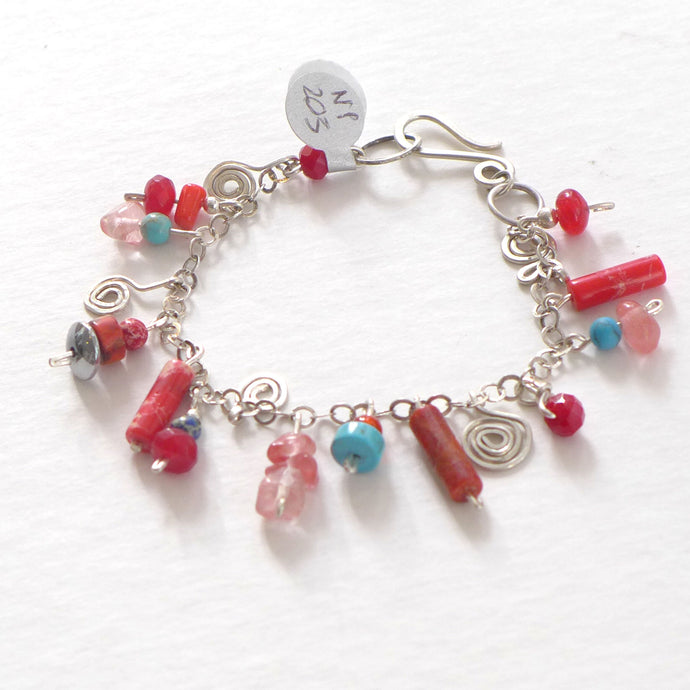 Red enamelled silver and semi precious bracelet NP203
