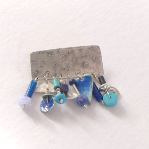 Blue enamelled silver and semi precious brooch NP206