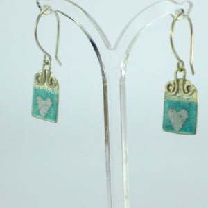 Aqua heart enamelled arch earrings NP555