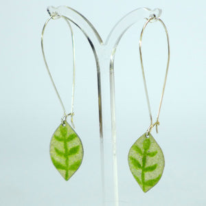 lime green leaf drop enamelled earrings NP581