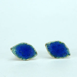 Blue dot leaf stud enamelled earrings NP609