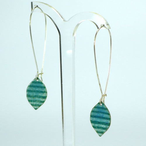 Green blue stripe long enamelled earrings NP615