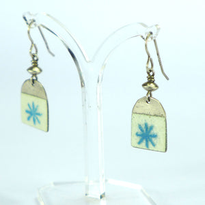Aqua star enamelled arch earrings NP706