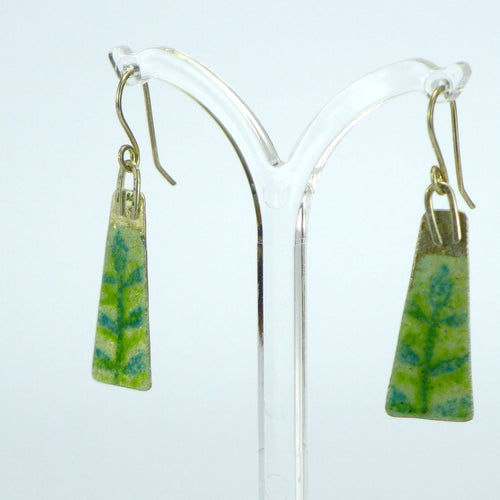 Long lime and aqua leaf enamelled earrings NP714