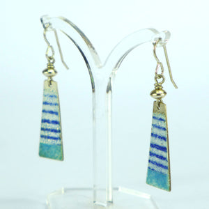 Long blue and aqua stripe enamelled earrings NP715