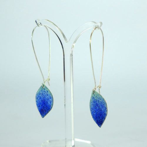 Blue ombre spot long enamelled earrings NP718