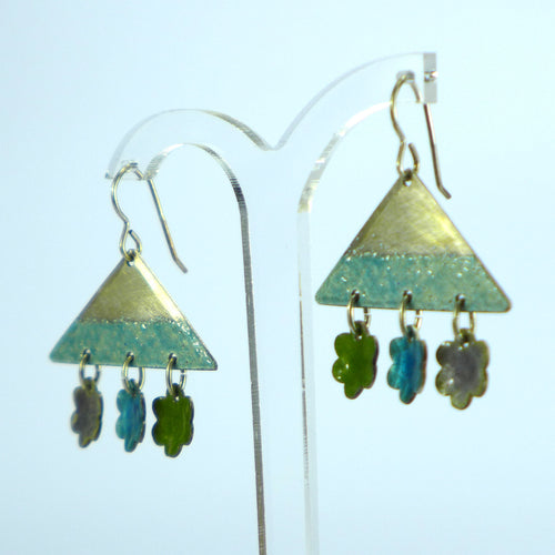 Triangle and daisy enamelled show stopper earrings NP720