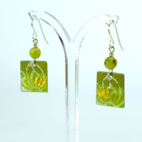 Yellow enamelled square earrings NP804