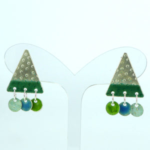 Triangle and circle enamelled stud earrings NP805