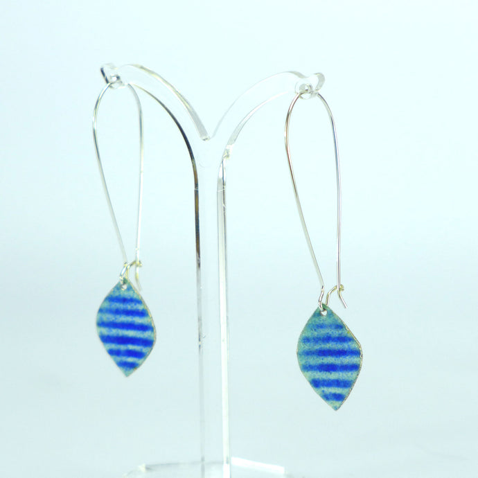 Blue stripe long enamelled earrings NP807