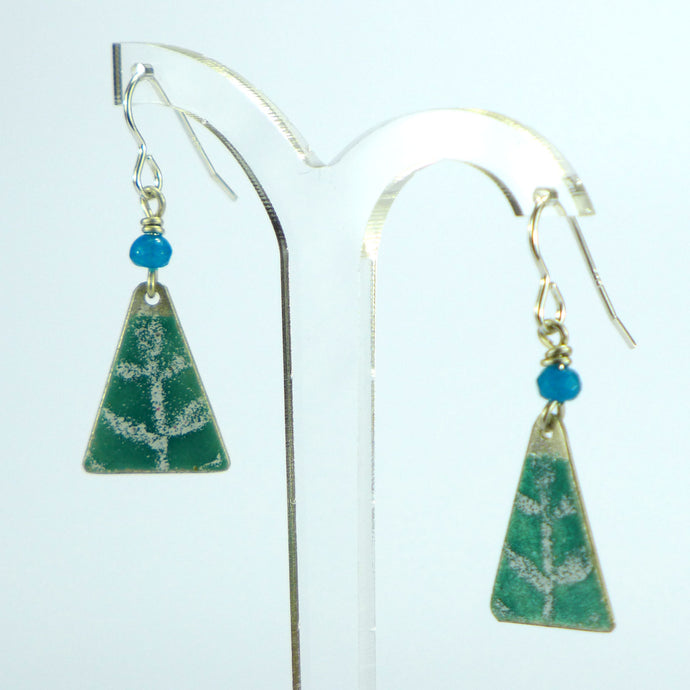 Aqua green leaf enamelled triangle earrings NP813