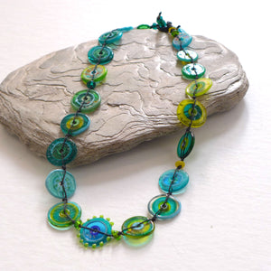Jelly Ring Glass Necklace Teal and Lemon PC11