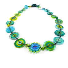 Load image into Gallery viewer, Jelly Ring Glass Necklace Teal and Lemon PC11