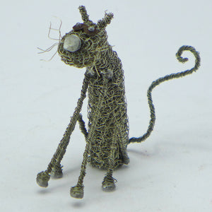 Knitted wire small sitting cat