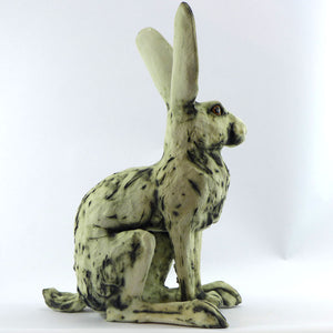 Large sitting ceramic hare - oxide glaze