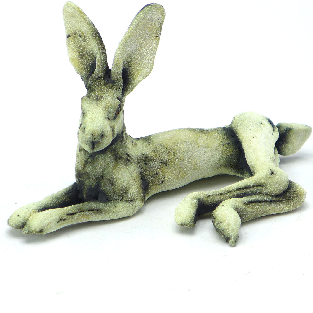 Small lying hare - oxide glaze
