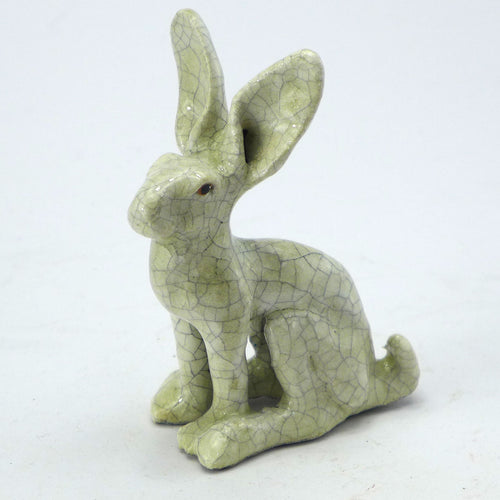 Small sitting hare - crackle glaze
