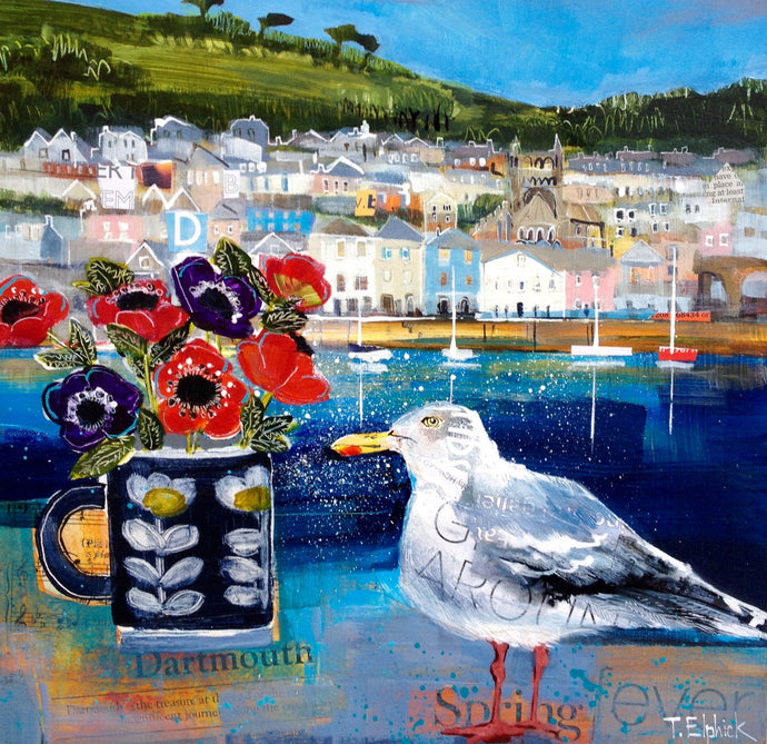Bayards Cove Seagull and Anemones Collage Print