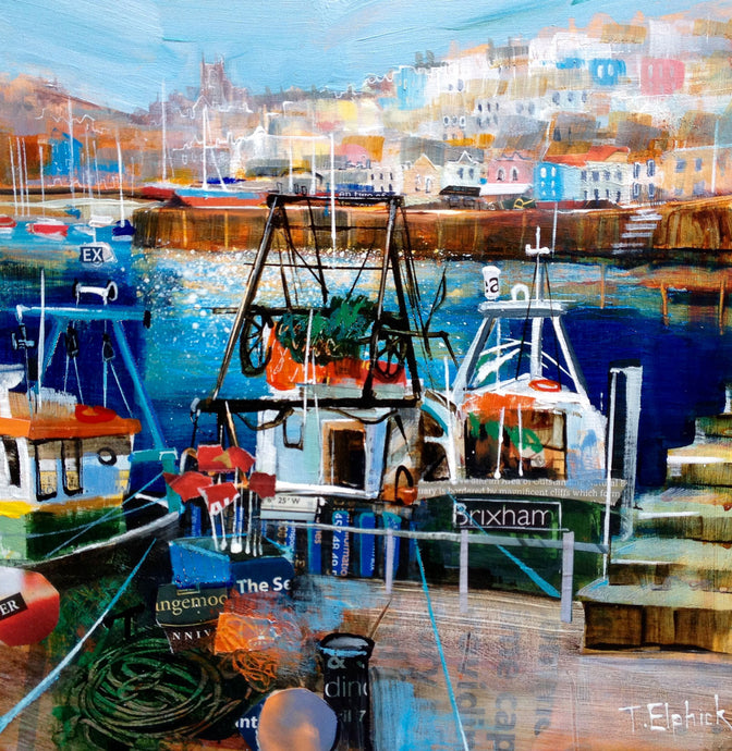 Brixham-Fishing-Boats-Collage Print
