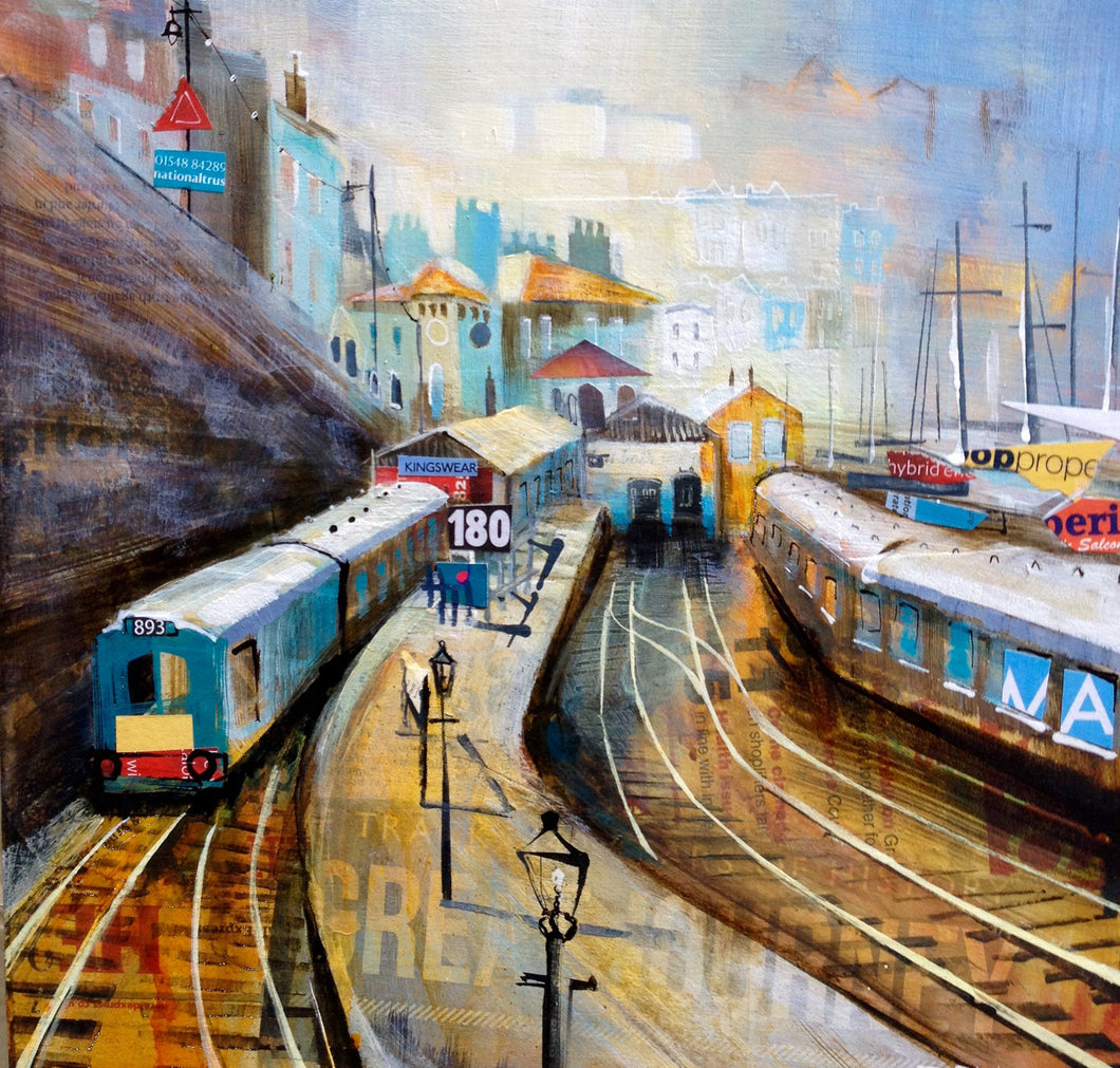 Misty Morning Kingswear Station Collage Print